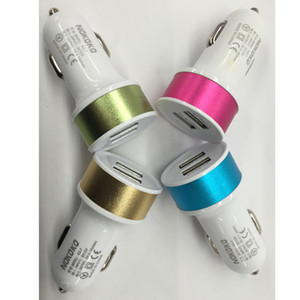 2020 Colorful Metal Aluminum Alloy Dual usb ports 1A Usb car charger adapter for Many phone