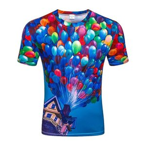 3D balloon flight printing men's fashion casual fashion women's round neck short sleeve super size T-shirt is cool funny shirt