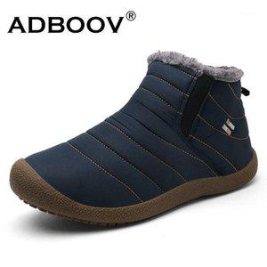 Adboov الشتاء الكلاسيكية الثلوج أحذية النساء الفراء بطانة مسطح الكاحل أحذية زائد الحجم 35-42 ماء أحذية في الهواء الطلق امرأة بوتا الأنثوية 1