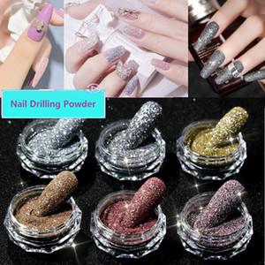 Cristal diamant ongles perçage poudre de poudre de poudre de diamant coloré paillettes flash paillettes brillant ongle d'art de bricolage bricolage