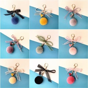new Christmas Bow Key Chain lovely bow bag pendant cartoon Plush key chain ring car gift hanging ornaments 10style T2C5304