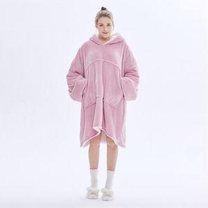 Толстовка с капюшоном с капюшоном Одеяло с капюшоном Одеяло теплые пальто толстые флисовые телевизор Открытый Одеял взвешенный пуловер для мужчин и женщин1