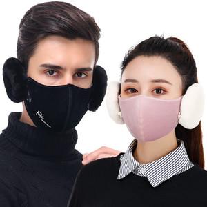 1 çıkarılabilir Tasarımcı Maske Earmuff'lar Windproof Bisiklet Ağız Kapak 6 Renkler nefes pamuk yüz maskesi kulaklık Açık Binme Mask olarak DHL 2