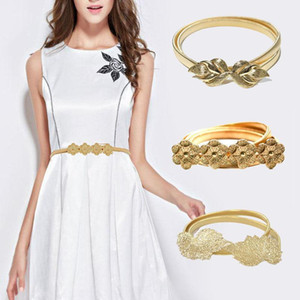 Summer Elastic Ladies Belt For Dress Gold Color Leaves Women Belt Stretch Skinny Female Waist Belts ceinture femme1