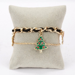 NEW Christmas Bracelet Santa Claus elk Christmas tree chain double layer Bracelet woven Bracelet Party Gift 5style 50PCS T500455
