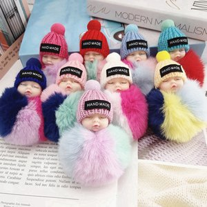 Cute Sleeping Baby Doll Keychain Colored Pompom Ball Key Chain Keyring Key Holder Bag Pendant Plush Fur Ball Key Ring Favor RRA3737