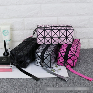 Women Cosmetic Bag Cases Geometric Folding Make Up Bag PVC Organizer Case Beauty Bags Shouder Handbags Storage Bags Tools 39 L2