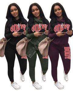 zwei Stück Outfits fallen Pullover Frauen s zwei Stück Jogginganzuege Designer Kleidung 2020 Trainings Conjunto de 2 piezas de ropa de mujer D92303