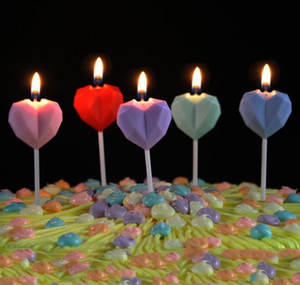 Diamond Love Birthday Candle Creative Heart Shaped Smokeless Cake Candle For Birthday Banquet Proposal Marriage Weddin wmtfPa mywjqq
