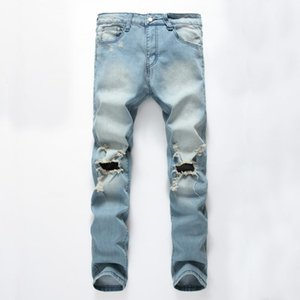 Jeans fashionable style broken hole nostalgia big tattered men's jeans trousers wholesale