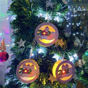 3 style lumières de Noël ornement bois de Noël lumières de Noël LED Suspension suspension Pendentif personnalisé Ornements de Noël AHB2555