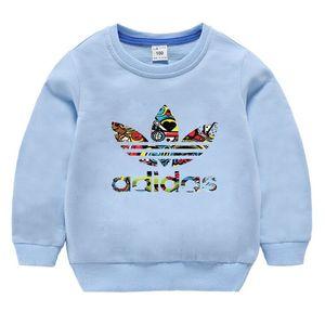 2020 Children Autumn Sweatershirt Long Sleeved Solid Color Sweater Kids Designer Sweatshirt Cotton Plain Boys New Round Neck Shirt