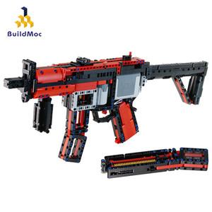 BuildMoc Pistole Motorleistung MP5 29369 Maschinenpistole Militär Modell Ww2 Bausteine für Technic Stadtpolizei Swat Spielzeug Jungen C1115
