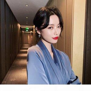 2020 designer silver needle luxury zircon cross earrings wind light luxury earrings ins commuter fashionable female