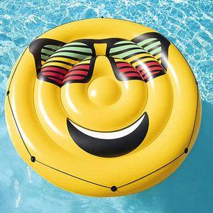 Lächelnde PVC-Sonnenbrille Wassergesicht Erwachsene Luftkissen Aufblasbare Floating Row Kinder Schwimmkreis Schwimmenkreis Floating Island