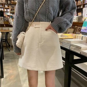 New 2021 skirts of women with high women's tiny velvet pockets solid skirt chic in elegant fashion comfortable leisurely y426 26PK C95Q
