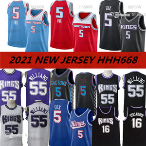 Vintage Basketball Jason Williams Jerseys 55 Peja Stojakovic 16 de Aaron Fox 5 Marvin Bagley III 35 Édition A gagné Noir Black S-XXL