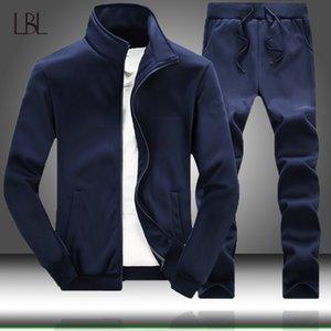 Men's Sportswear Sets 2020 Autumn Winter Male Casual Tracksuit Men 2 Piece Sweatshirt + Sweatpants Set Man Solid Streetwears