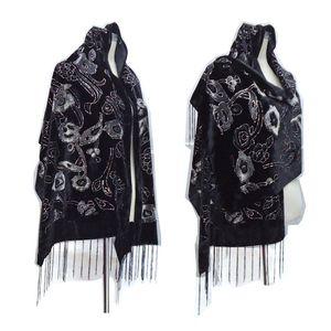 New Arrival Burnout Velvet Winter Scarf Hijab Glitter Floral ShawlS For Wedding Black Head Scarf Ponchos Women