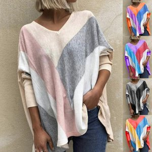 2020 Fall Winter New V-neck Printed T-shirt Fashion Loose Top Irregular Stripe Print