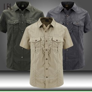 Mens Summer Military Shirt Men Cargo Quick Dry Short Sleeve Shirts Casual Solid Tops Male Multi-pocket Loose Work Shirt Clothing