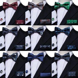 Pre-Bow Tie For Men Silk Butterfly Men's Tie Red Hanky Cufflinks Set Collar Cartoon Dinosaur Removable Necktie Wedding Party1