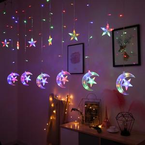 Led Işık 2.5m Big Ay ile Yıldız Perde Işık Noel Günü Partisi Dekorasyon Düğün ile Yıldız Işıklar 40 Strings