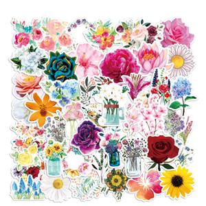 Confezione da 50 pezzi all'ingrosso Bellissimi fiori Adesivi per piante Impermeabile Adesivo senza duplicato per notebook Skateboard Bottle Car Decalcomanie