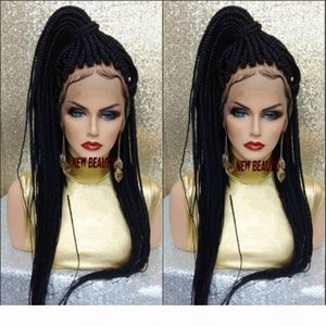 Long black brown blonde burgundy color Jumbo Braids wig Synthetic Braiding Hair frontal medium braid lace front wig for black women