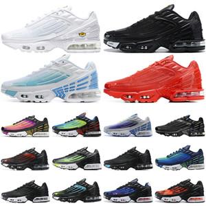 Nike air max tn plus 3 airmax Mujeres Zapatos para correr Triple Blanco Negro Iridiscente Paquete de paracaídas Hyper Violet para hombre zapatillas deportivas al aire libre