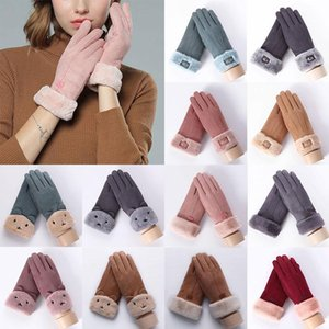 1 Pairs Cute Bear Mittens Double Thick Plush Warm Faux Cashmere Touch Screen Driving Gloves Suede Leather Full Finger Gloves
