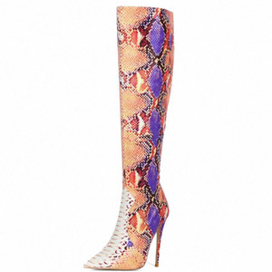 2020 Design Boots Multicolor Snake Print Knee High Boots Faux Leather Super High Heel Long Fashion Pointed Toe Shoes Ouqh#