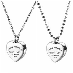 Kadınlar için kalp bellek kolye lütfen sonsuza dönüş aşk paslanmaz çelik kolye külleri urn takı