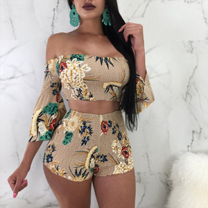 2019 Floral Print Casual Two Piece Set Off Shoulder Cami Top amp; Shorts Set Summer Short Tracksuit Women Sexy Bodycon Romper S