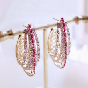 Fashion Hyperbole Vintage Chunky Big arched Earrings Red and Purple Stone pave Large Ornament Women Jewelry Statement Party