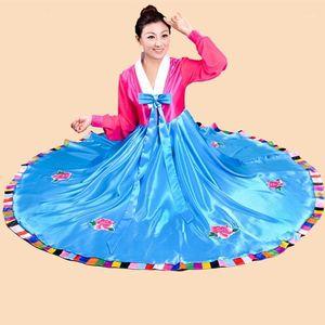 woman elegant North Korean traditional Costume flower print Korea dance performance clothing female hanbok court pincess dress1