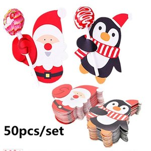 50Pcs set Cute Gift Package Decor Cards Lovely Penguin And Santa Claus Christmas Candy And Lollipop Decoration Paper Cards