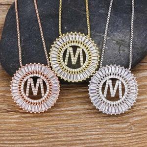 A Iniciantes de A para Z escolhe Micro Paver Pave Pingente Colares para Mulheres Chain Chain Família Jóias Presente 4 cores Festa Fontes HH9-3729
