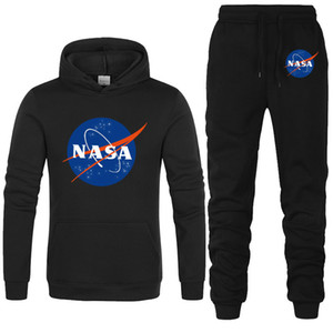 NASA printed men's hoodie sweater men's and women's fashionable sweater and sports pants suit