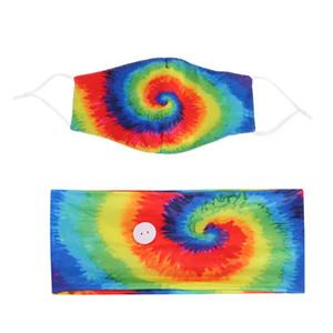 Tie-boya Saç Bandı Maskeleri Seti Spiral Desen Düğme Karşıtı Tasma Saç Türban Aksesuarları Yoga Hareketi Elastik Kafa GWC2656 Maske
