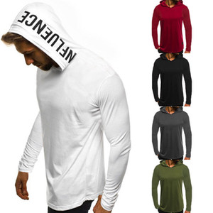 2018 Brand New Fashion Muscle Men's Long Sleeve Slim Fit Tops Summer Hooded Tee Sportswear Hoodies Sweatshirts