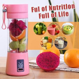 380ml Portable Fruits Blender USB Mixer Electric Juicer Machine Smoothie Blender 6 Blades Vegetable Smoothie Squeezers Sea Shipping DDA608