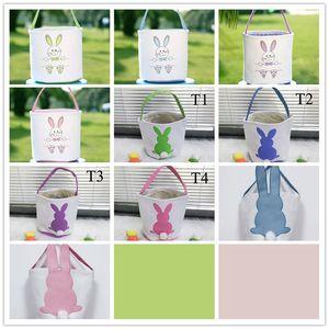Borsa auricolare di coniglio di tela di Pasqua 8 stili Peluche Bunny Coda cestino portatile uova di Pasqua Borsa di stoccaggio