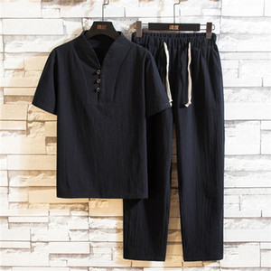 Short Sleeve T Shirt Men Sets V Neck Drawstring Casual Trousers Formal Summer Wear Clothes Set Chinese Style Cotton Linen Suit