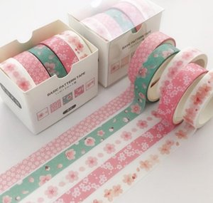 School Supply 2016 Pcs pack Tape Masking 5 Washi Tape Colorful Striped  flowers Office Label Decorative Adhesive Scrapbooking Sticker wmtas