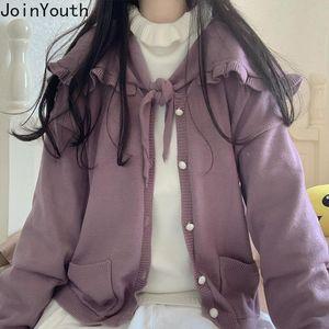 Joinyouth Fall 2021 Mujeres con volantes Suéteres para mujeres Púrpura Purple Cardigan Femenino Dulce Séter Séter Pull Femme 7B551