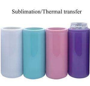 12 oz sublimación refrigerador de doble vacío de la pared recta Enfriadores de cobre chapado en frío Tanque de almacenamiento multicolor Mantenga titular frío puede Holder A02
