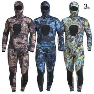 Men's 3m m camouflage two pieces of surfer's diving suit outside swimming surfer wading sports crevice thermal respirator waterproof combina