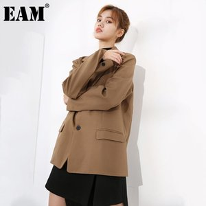 [EAM] Women Khaki Brief Temperament Blazer New Lapel Long Sleeve Loose Fit Jacket Fashion Tide Spring Autumn 2021 1DA30904