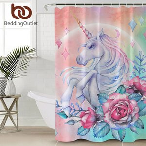 BeddingOutlet Unicorn Shower Curtain Floral Pink and Black Waterproof Curtain Polyester Cartoon Bathroom Decoration With Hooks Towel